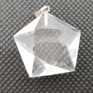 Pendentif Pentagramme en cristal de roche