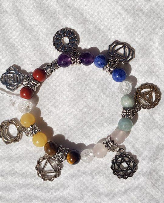 bracelet 7 chakras avec les symboles hindous