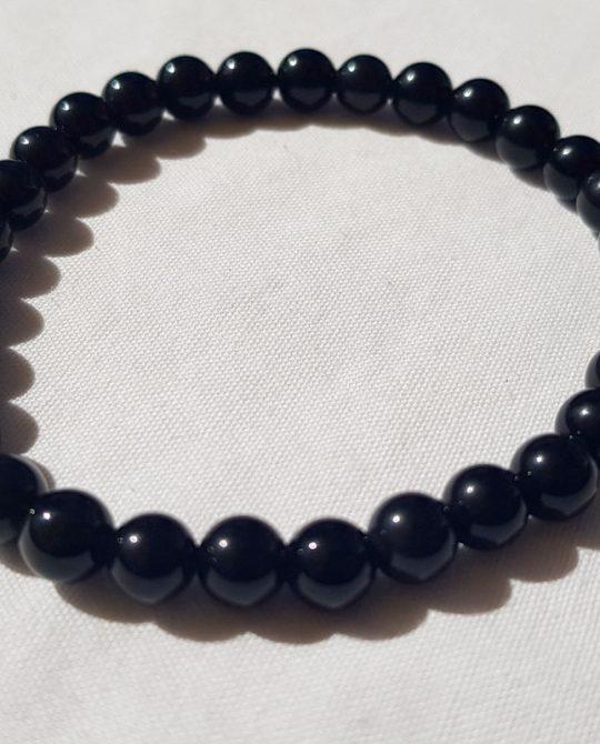 bracelet en perles rondes en obsidienne