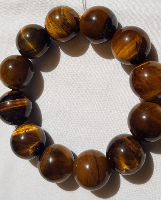 bracelet en perles rondes en oeil de tigre